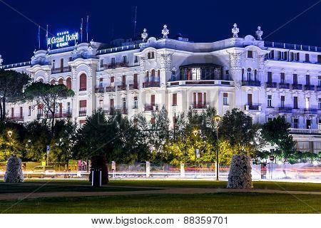Rimini Historical Grand Hotel Building. Night View
