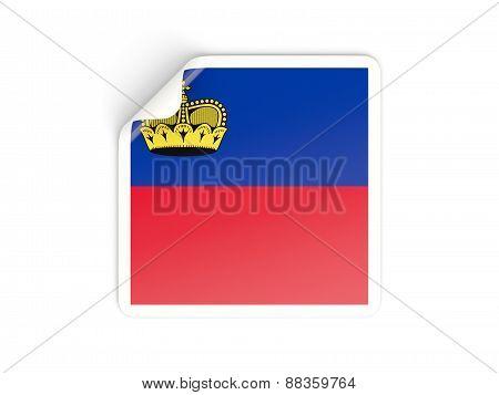 Square Sticker With Flag Of Liechtenstein
