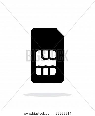 Standard SIM card simple icon on white background.