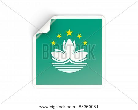 Square Sticker With Flag Of Macao
