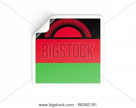 Square Sticker With Flag Of Malawi