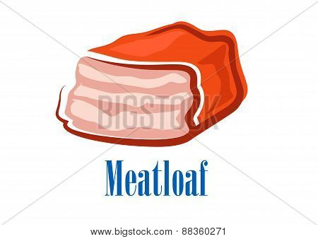 Cartoon fresh isolated beef meatloaf