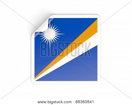 Square Sticker With Flag Of Marshall Islands