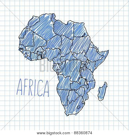 Pen hand drawn African map vector on paper illustration