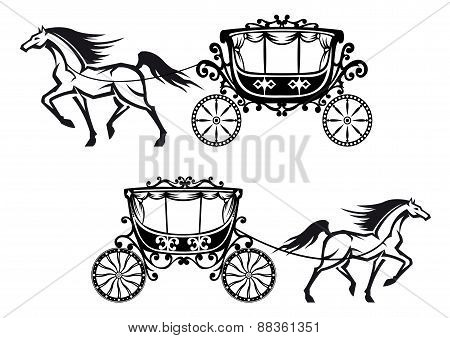 Antique decorated carriages with horses