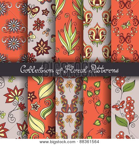 Set Of 10 Seamless Floral Patterns (vector)