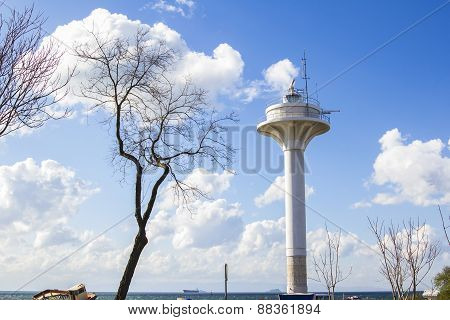 observation tower on the shore of the Sea of Marmara