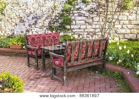 a comfortable place to relax in the tea garden