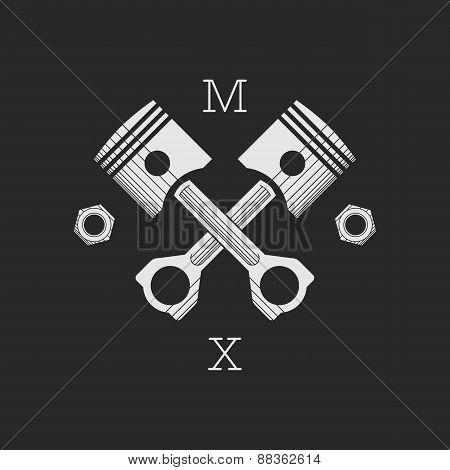 ?ar or bike workshop logo template (concept). Vector illustration.