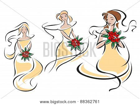 Brides or bridesmaids silhouettes with flowers