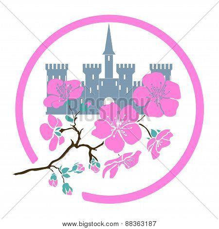 twig sakura blossoms and castle. Logo