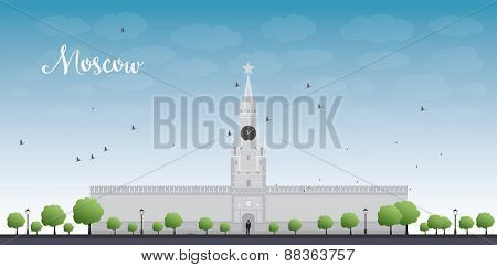 Kremlin Spasskaya tower with clock on Red Square, Moscow, Russia. Vector illustration