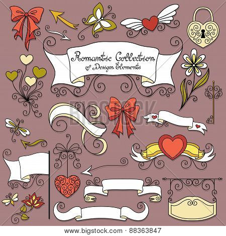 Vector Romantic Collection Of Hand Drawn Design Elements