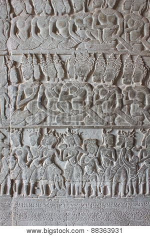 Sculptural Walls Of Angkor Wat