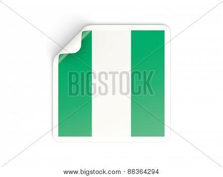 Square Sticker With Flag Of Nigeria