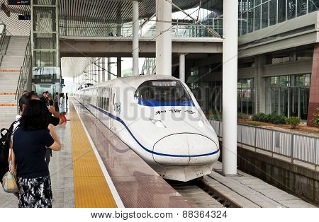 Chinese high speed train at Shaoguan Railway Station