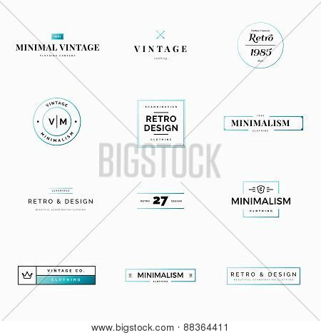 Twelve minimal vintage and retro logo vectors for shops