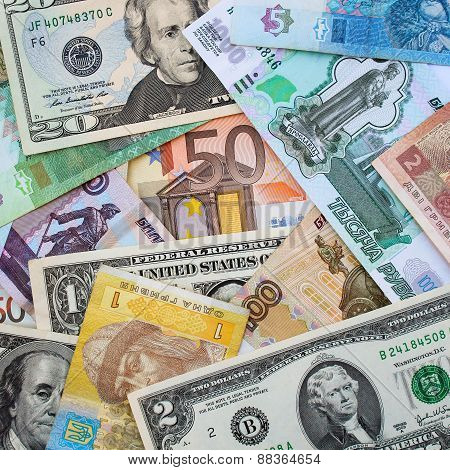 Money from different countries: dollars, euros, hryvnia, rubles