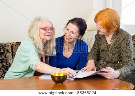 Adult Women Friends Chatting At The Living Area