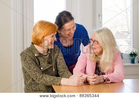Happy Middle Age Women Talking At Dining Table
