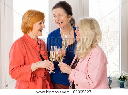Very Closed Mom Friends Holding Glasses Of Wines