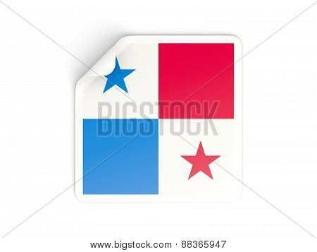 Square Sticker With Flag Of Panama