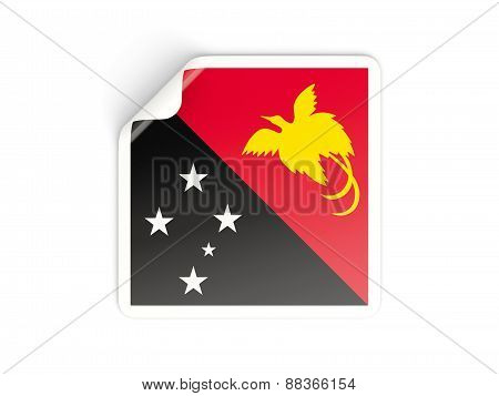 Square Sticker With Flag Of Papua New Guinea