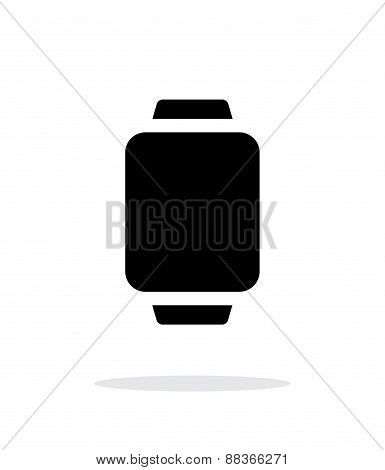 Smart watch simple icon on white background.