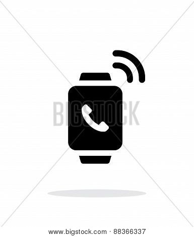 Incoming call on smart watch simple icon on white background.