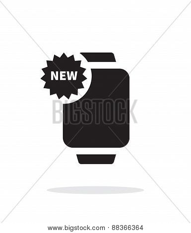 New marker on smart watch simple icon on white background.