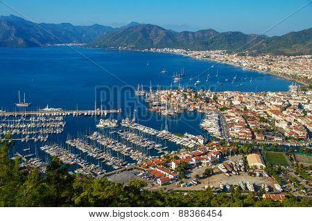 View Of Marmaris Harbor On Turkish Riviera.