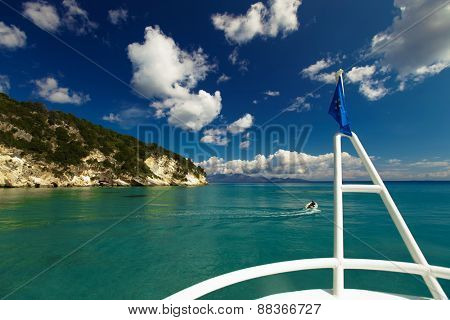 View of beautiful beach and sea from tourist boat, Zakynthos  island, Greece