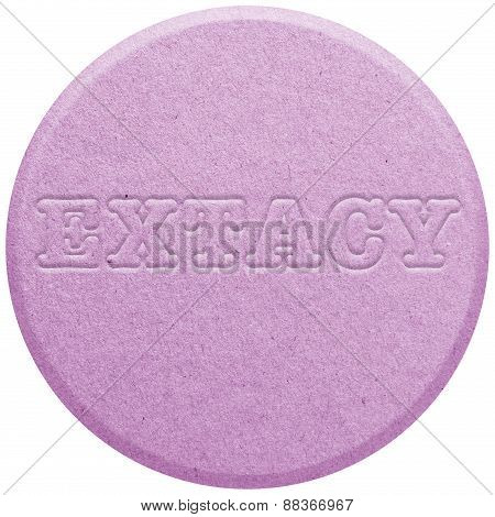 Pink Ecstasy pill isolated on white
