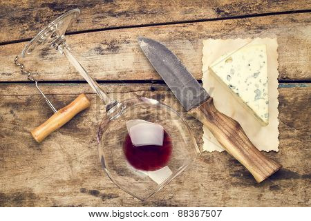 Mock Up Wine And Cheese Set.