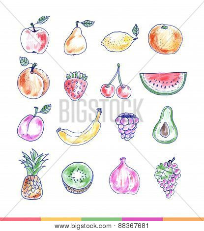Set Of Delicious Hand Drawn Fruits