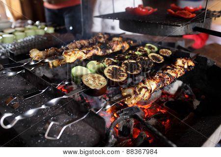 Fried Zucchini, Eggplant, Meat