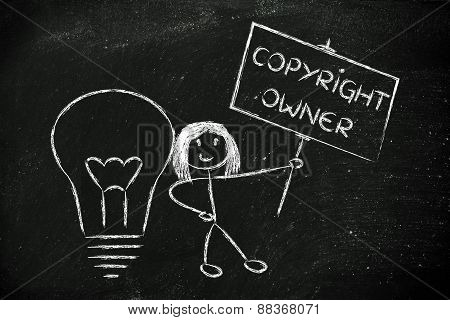 Funny Copyright Owner Girl With Her Idea, Concept Of Intellectual Property