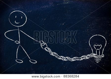 Funny Copyright Owner Man With His Idea On A Chained Leash: Protecting Intellectual Property
