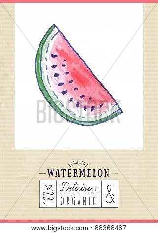 Vintage Label With Hand Drawn Watermelon