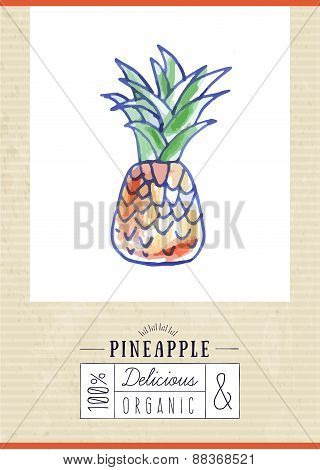 Vintage Label With Hand Drawn Pineapple