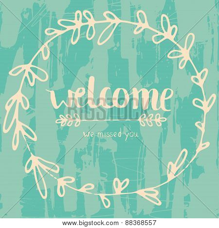 Welcome grungy lettering poster