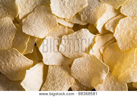 Background Texture Of Oven Baked Potato Chips