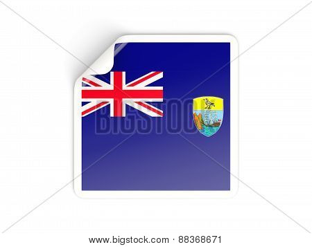 Square Sticker With Flag Of Saint Helena