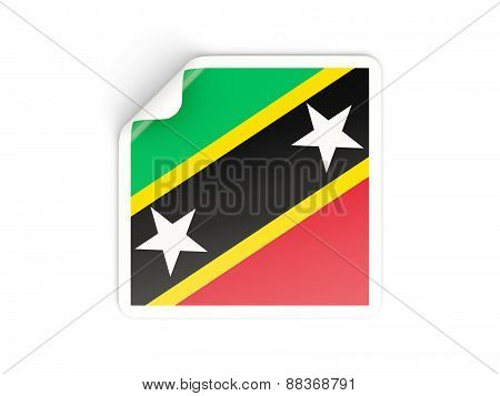 Square Sticker With Flag Of Saint Kitts And Nevis