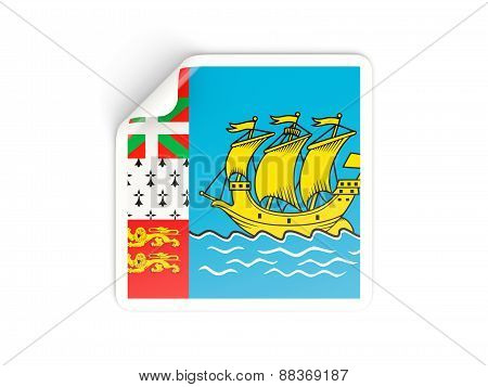 Square Sticker With Flag Of Saint Pierre And Miquelon