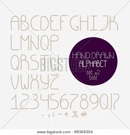 Decorative Doodle Alphabet. Bold Font
