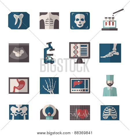 Ultrasound X-ray Icons Flat