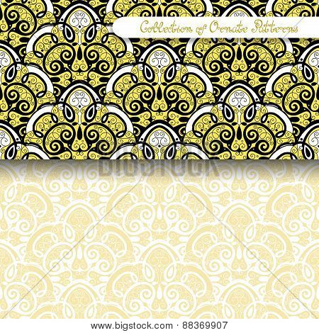 Set Of 2 Seamless Vintage Patterns (vector)