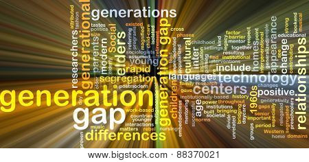 Background text pattern concept wordcloud illustration of generation gap glowing light