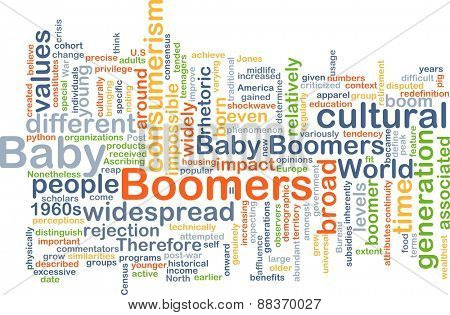 Background text pattern concept wordcloud illustration of baby boomers generation